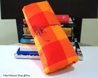 Orange Wool Blend Maasai Shuka | Warrior Shuka | Warrior Shawl | Camping Shawl |