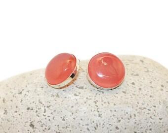 Big Red Earrings, Sterling Silver Cabochon Earrings, Red Agate Earrings