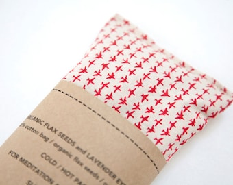 Lavender Eye Pillow - Planes - Relaxation - Sleep Aid - Gift for traveller, pilot - Eye pillow - Organic flax pillow - Aeroplane - Organic