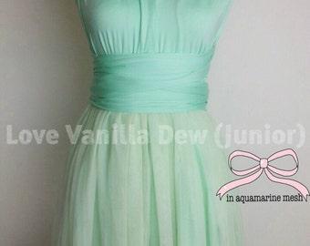 Junior Bridesmaid Dress Infinity Dress Aquamarine Mesh Overlay Convertible Dress Multiway Wrap Dress