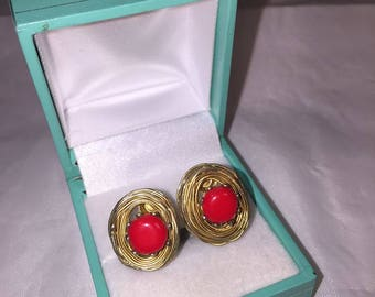 Designer Signed Vogue Earrings - Jewelry - Gold - Red - Earrings - Dainty  - Women - Gift - Wedding