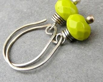 Chartreuse Earrings Dainty Earrings Spring Earrings Wire Wrapped Earrings Eco Friendly Jewelry Gifts for Her Sterling Silver Earrings