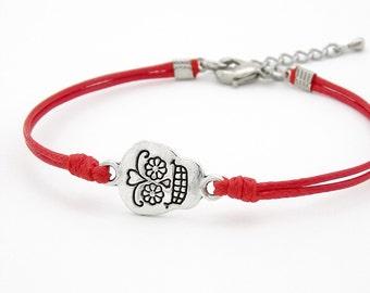 Sugar Skull Bracelet, Red Cord Bracelet,  Skull Jewelry, Waxed Cord Bracelet