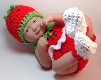 14 Inch inch Doll Clothes,Strawberry Set,doll sets,doll outfits,9 inch doll clothes,gifts for kids,summer doll sets,Hat,top,bottoms,shoes