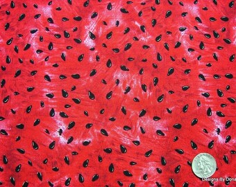 One Half Yard Cut of Quilt Fabric, Red Ripe Juicy Watermelon with Black Seeds from Timeless Treasures, Quilting-Sewing-Craft Supplies