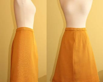 Vintage Mustard Yellow A-Line Skirt, L