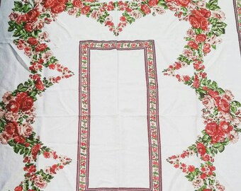 """Large White and Floral Linen Tablecloth. Vintage 1960's large Linen tablecloth. Floral garland tablecloth. 60 x 60 """""""