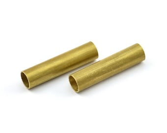 Brass Tube Beads, 10 Raw Brass Tube Findings (29x7mm) BRC184--R030