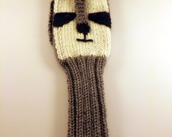 Hand-Knit Raccoon Golf Club Cover - Knit Golf Club Cover - Raccoon Golf Club Sleeve