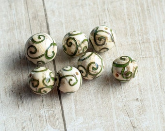 Nature Scrolls Beads, lampwork beads, glass beads, organic beads, murano glass, flamework, jewelry making, glass beads for jewelry making