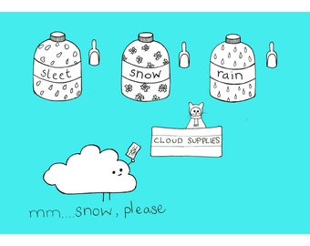 Cloud Supplies - A4 print - Weather Print - Childrens Art Print - Quirky Illustration