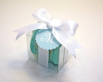 Blue and White Macaron Boxes, Blue Wedding Favor - 24 Favor Boxes