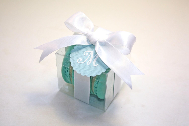 Blue and White Macaron Boxes, Blue Wedding Favor - 24 Favor Boxes