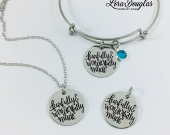 Fearfully and Wonderfully Made, Birthstone Necklace, Pearl Necklace, Bible Verse Necklace, Bible Verse Bracelet, Bible Verse Jewelry,