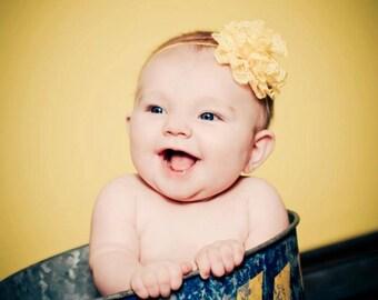 Spring Time Yellow Lace Headband Photography Prop Newborn Headband