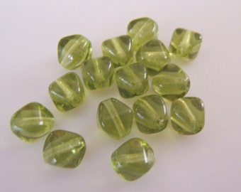25 -  Olivine  Czech Glass Bi-cones