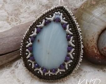 Amazonite and Sapphire Bead Embroidry Pendant