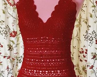 Crochet Beaded Halter Top 'Sarai' in Red