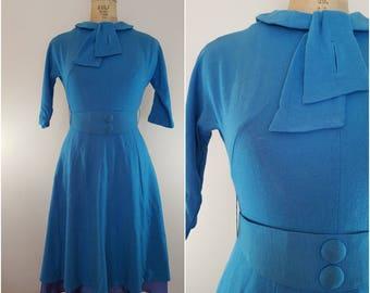 Vintage 1950s Wool Dress / Turquoise Fit N Flare / Vintage 50s Dress / XS