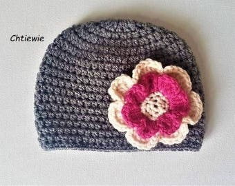 baby girl crochet hat,baby crochet hat ,baby hat ,baby girl hat ,newborn hat,flower hat ,baby crochet flower hat