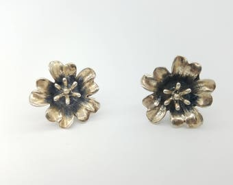 Vintage Sterling Silver Flower Screw Back Earrings