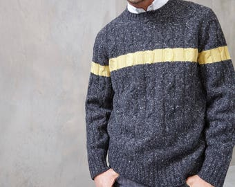 Knit Cashmere/ Wool Blend Tweed Sweater Pullover for Men - Size M , L, XL - Free Shipping in US