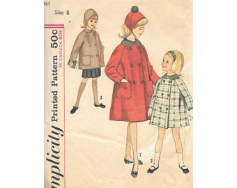 1960s Girls Swing Coat Jacket Hat Sz 8 Sewing pattern Simplicity 5147 Vintage