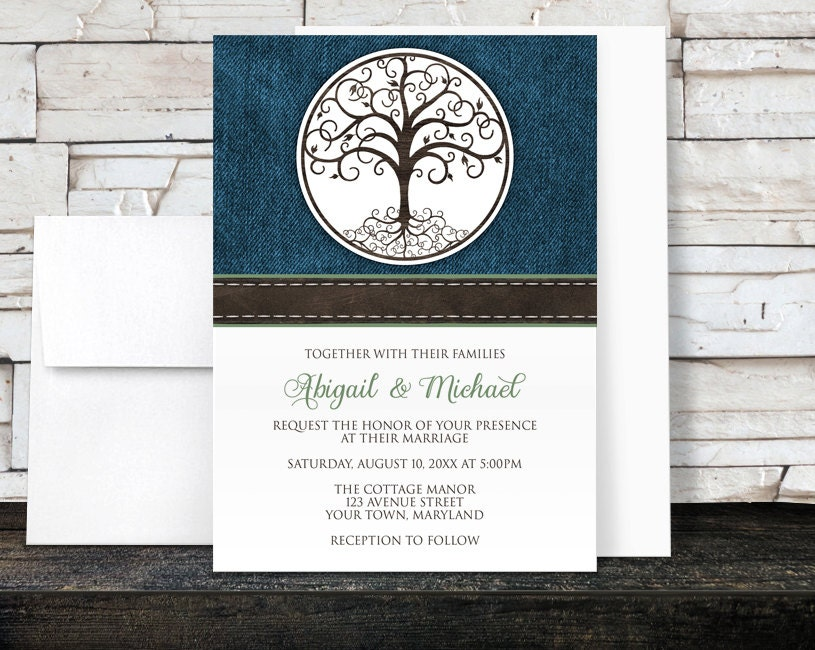 Tree of Life Wedding Invitations Rustic Tree of Life over