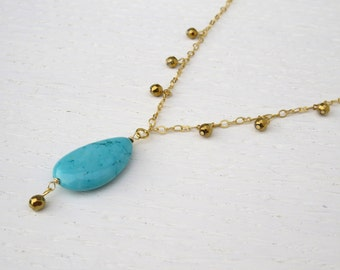 Turquoise drop necklace, Turquoise and gold necklace, Hematite necklace
