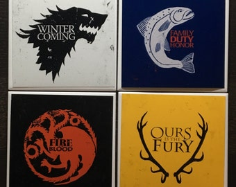 Game of Thrones Inspired Drink Coasters   Set of 4   Price Per Set   Choose Your 4   Mix and Match   Coaster Set