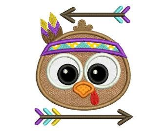 Native Turkey Thanksgiving Applique Machine Embroidery Design Arrow TG008