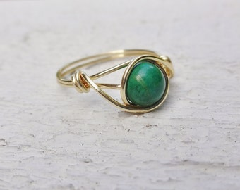 Green gemstone wire ring, wire ring, gold wire ring, gold ring, gemstone ring, stone ring, green stone ring, custom wire ring, wire wrapped