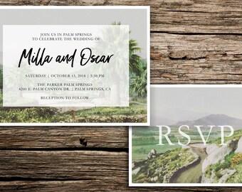 Palm Springs Wedding Invitation Suite // Modern Boho Wedding Invitations Palm Springs Coachella Riverside Palm Desert Cards