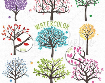 Watercolor Tree Silhouettes Clipart Clip Art, Family Tree Clipart Clip Art - Commercial and Personal Use