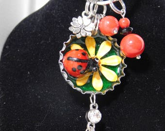 Lady Bug Bottle Cap Keyring/Purse Hanger, Lady Bug charm, Lady Bug Bottle Cap charm FREE U.S. Shipping