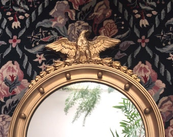 Antique American Eagle Wood and Gesso Mirror with Bellflower Swag Garland / Civil War Era Eagle Mirror / Eagle Mirror 13 Original Colonies