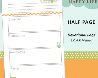 LIMITED EDITION: Half Page - Printable Bible Study / Daily Devotion S.O.A.P. Method - Happy Owls