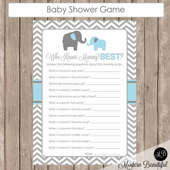 Delightful Baby Shower Game Who Knows Mommy Best Elephant Theme Who Know
