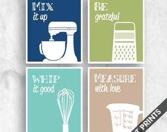 Funny Kitchen Art Print Set (Mixer, Grater, Whisk, Measuring Cup) Set of 4 - Art Prints (Featured on Navy, Basil, Tiffany, Tan)
