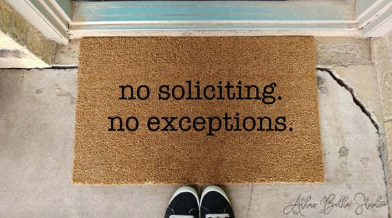 Nice No Soliciting Doormat Funny Welcome Mat