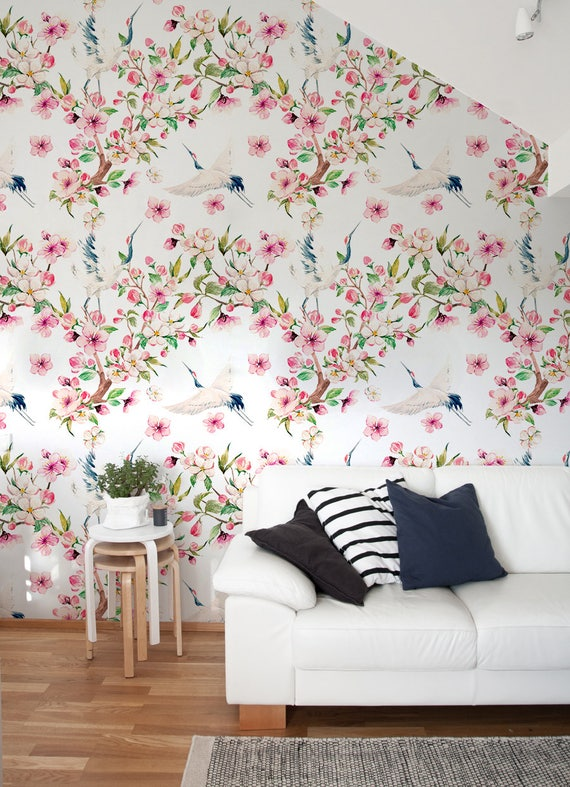 Chinoiserie Wallpaper Temporary Floral Peel And Stick Removable Wall Paper A219