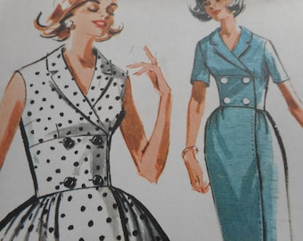 Vintage 1960's McCall's 6846 Dress Sewing Pattern Size 16 Bust 36