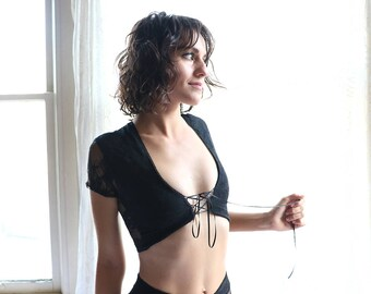Lace Crop Top - sheer lingerie - see through lingerie - see through shirt - sheer shirt - camisole - womens clothing - Recherche Clothing
