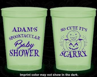 Halloween Baby Shower, Glow in the Dark Baby Shower Cups, Pumpkin Baby Shower, Glow Baby Shower Party (90088)