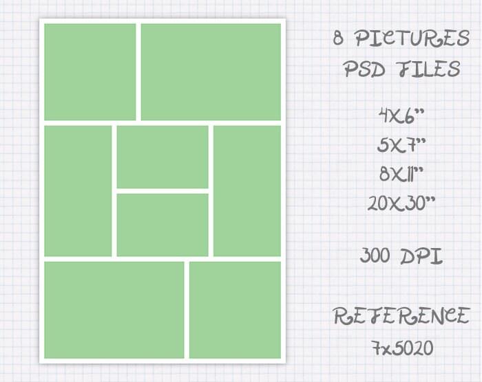 Plantilla foto collage storyboard de 6x4 4x6 7x5 5x7 11x8 8x11