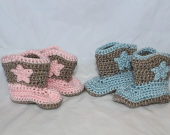 Crocheted Cowboy Boots, Blue