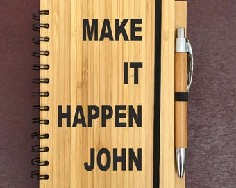 "Engraved Wooden Bamboo Notebook + Pen ""Make It Happen"" Personalised GIFT set"