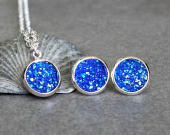 Blue Necklace Set, Blue Necklace, Blue Druzy Earrings, Blue Druzy Studs, Blue Stud Earring, Blue Post Earrings, Blue Earring, Blue Druzy Set