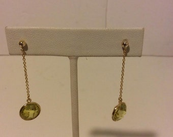 Lime green gold coated sterling silver round drop earrings