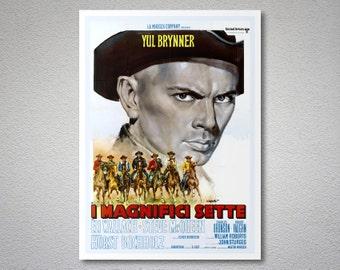 Il Magnifici Sette Movie Poster -Yul Brynner - Poster Paper, Sticker or Canvas Print / Gift Idea
